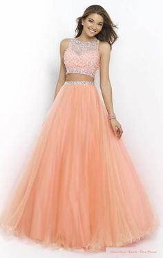 Sleeveless Beads Vintage Scoop Hollow Back Design Two Pieces Floor Length Prom Dress,262 - Thumbnail 1