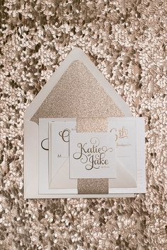 Foil Rose Gold Glitter Wedding Invitation von JustInviteMe