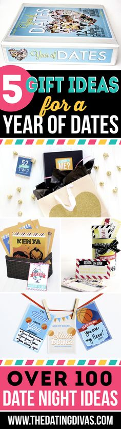 5 different ways to gift a YEAR OF DATES!! These are all sooooo cute! Perfect…