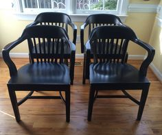 Vintage Bankers Chairs/ Library Chairs/ Boling Chairs, North Carolina, Set of 4