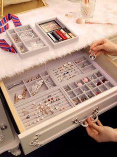 Luxury Jewellery TraysJewelry Organizer Drawers Dress Drawer Velvet tray storage box Ring Tray Display Box - October 26 2019 at Bedroom Closet Design, Home Room Design, Room Ideas Bedroom, Closet Designs, Bedroom Decor, Ikea Bedroom Storage, Teen Room Designs, Jewelry Drawer, Jewellery Storage