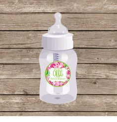 Waterproof Personalized labels, Lilly inspired rose garden baby bottle stickers, daycare labels, dishwasher safe, set of 20- typewriter by sweetgrassprints on Etsy