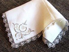 Vintage Ecru Linen Hanky Handkerchief-with Ecru Madeira Embroidery at Corner