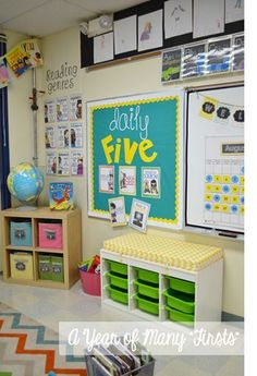 what a week (with a little classroom tour!) - love the font for daily five and the teal and yellow scheme: