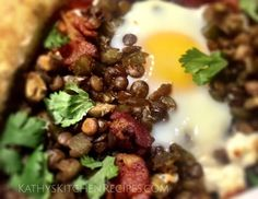 Baked Spicy Lentil with Bacon & Egg  KathysKitchenRecipes.com