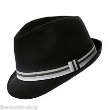 BLACK TRILBY MENS LADIES WOMENS FEDORA PORK PIE FANCY DRESS NEW GANGSTER  SUN HAT Fancy Hats 671d931a4ee6