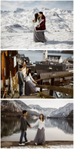 This couple celebrated their engagement in Hallstatt with a pre-wedding snowshoe hike Austrian Village, Cloudy Weather, Elopement Ideas, Stay The Night, World Heritage Sites, Photo Sessions, Getting Married, Engagement Photos, Wedding Photos