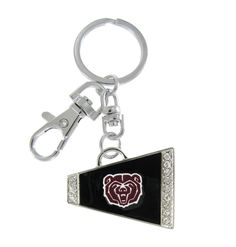 Black Missouri State Bear Head Cheer Megaphone Key Chain