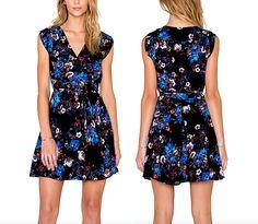 YUMI KIM Wrap Dress Black Floral Printed Mini Blue Surplice XS Small 0 2 4 6 NEW #YumiKim #FitandFlareDress #wrapdress