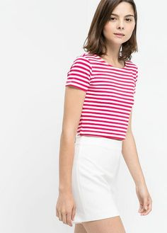 Mango Striped cropped top