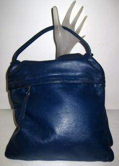 Navy Leather Flip Pouch Purse - Quirky Finds Vintage