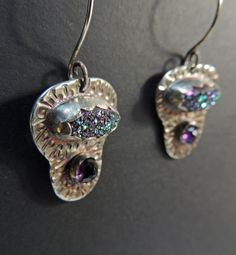Super Sparkly Purple Druzy Earrings Rose Cut by PureDichotomy, $145.00