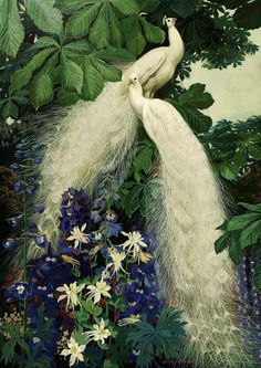 White Peacocks by the American artist Jessie Arms Brooks (1883-1971) - Style:Art Nouveau