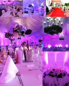 hala namiotowa Constancja, wesele, hortensje, bluszcz, dekoracja światłem, lampiony, center piece