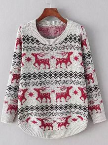 Red Grey Round Neck Deer Print Sweater
