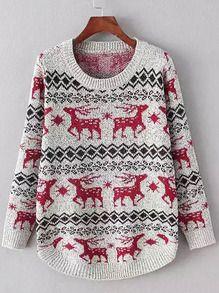 Red Grey Round Neck Deer Print Sweater