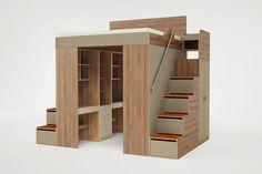 Cama em cima, closet em baixo e gavetas na escada.