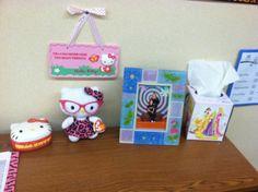 My classroom is a kind of hodge-podge just like me, hello kitty, disney princesses, animal print and football!