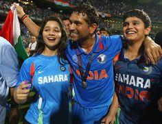 Sachin Tendulkar celebrates with his children Sara and Arjun after india won the ICC Cricket World Cup 2011