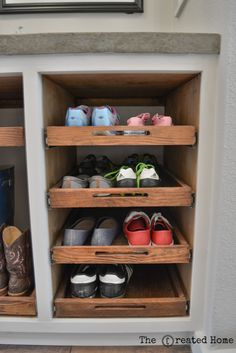 diy shoe storage cabinet with pull out trays