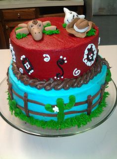Cowboy/Western Birthday Cake  Or cowgirl just change red to pink