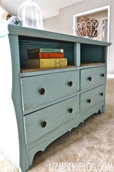 Dresser redo with burlap shelves. I'd love this as an entertainment center!
