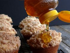 Streuseled Honey Butter Muffins with extra honey!