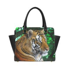 Tiger digital painting Classic Shoulder Handbag by Tracey Lee Art Designs Shoulder Handbags, Art Designs, Tote Bags, Underwater, Digital, Unique Jewelry, Classic, Artwork, Model
