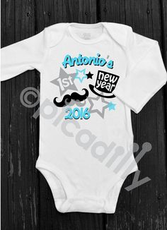 7b628e1c1a7be Items similar to My First New Years Personalized Baby Boy Onesie with Top  Hat and Mustache for Babys First New Year in Red or Blue on Etsy