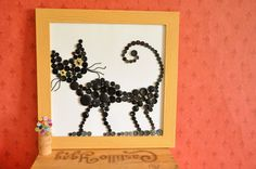 Black cat decor Button art Quirky home decor Children by NobiasArt