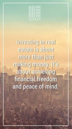 Investing in Real Estate is about more than just making money. It is about achieving financial freedom and peace of mind. Brand Story, Real Estate Investing, Peace Of Mind, How To Make Money, Freedom, Mindfulness, Liberty, Political Freedom, Consciousness