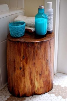 Tree Stump Table for the bathroom