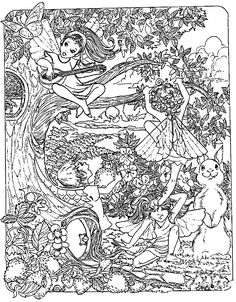 Free coloring page coloring-adult-fantasy-child-elves. Child elves with tree and animals ... lot of details