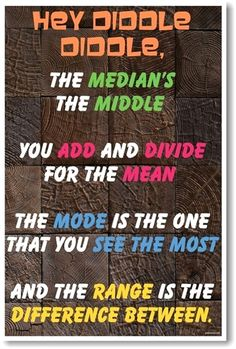 Hey Diddle Diddle New Classroom Math Science Poster---My kids love this to help remember central tendency etc. E Learning, Math Help, Fun Math, Learn Math, Math Math, Ks3 Maths, Kids Math, Math Tutor, Guided Math