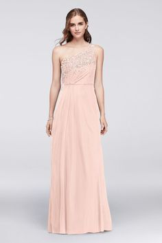 Sequined One-Shoulder Mesh Bridesmaid Dress with Capelet - Petal (Pink), 0