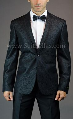 2 Button Slim Fit Black floral Jacket with Taping GT2NT-2121