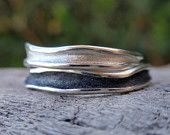 wedding rings handmade sterling silver wedding band set oxidized bark texture 5mm & 4mm - made to order. $98.00, via Etsy.