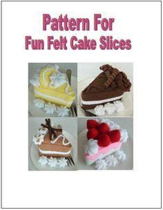 Free Felt Pincushion Patterns | Felt Food Pattern Fun Cake Slices by lisajhoney on Etsy