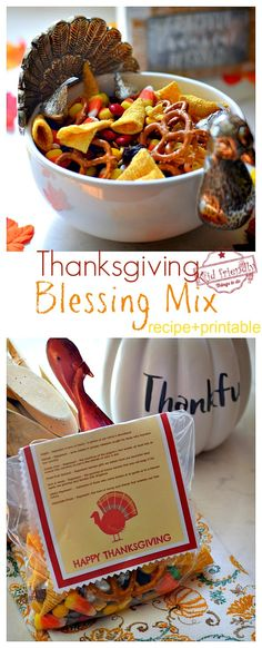 Thanksgiving Blessing Mix Recipe and Free Printable | Kid Friendly Things To Do