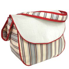 Hoohobbers personalized diaper bag in the stellar stripes design collection is elegant in simplicity, consisting of variegated stripes with apple red accents.