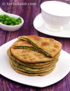 Hare Mutter ki Puri. Bored of making samosas and kachoris? Try this flavourful stuffed puri then! Packed with boiled green peas perked up with chaat masala and lemon juice, these whole wheat puris are flavourful and aromatic too. Every bite of the Hare Mutter ki Puri delights your taste buds. It is so tasty, you can simply serve it with a cup of curds.