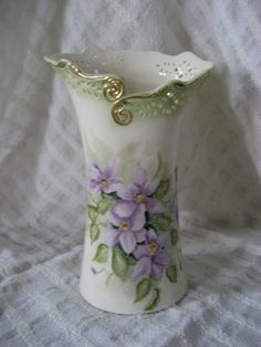 Clematis porcelain vase by PorcelainChinaArt on Etsy, $25.00