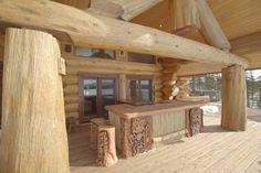 The tiki bar was designed for the residence of Pioneer Log Home's east coast representative, Ken Auchinleck.