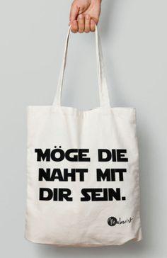 """Jutebeutel mit Spruch """"Möge die Naht mit dir sein"""" - Stoffbeutel via Makerist.de"""