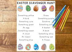 Easter Scavenger Hunt, Outdoor Scavenger Hunts, Scavenger Hunt For Kids, Easter Activities For Kids, Holiday Activities, Educational Activities, Teaching Activities, Toddler Activities, Easter Crafts