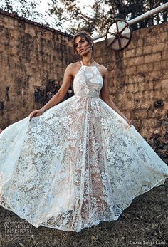 14b1a4a9682a grace love lace 2018 bridal sleeveless halter neck full embellishment  romantic a line wedding dress cross