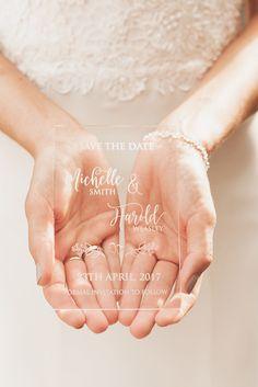 New Transparent Designs  - engraved on acrylic #weddingideas #inspiration #fresh #new #weddingtheme #transparent #unique #weddingcards #romantic