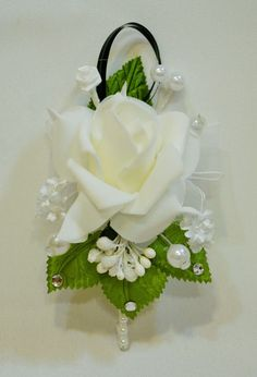Prom Corsage And Boutonniere, White Boutonniere, Corsage Wedding, Corsages, Wedding Bouquets, Wedding Flowers, Silk Flowers, Paper Flowers, Wedding Centerpieces