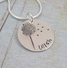 So sweet Hand Stamped Necklace - Hand Stamped Sterling Silver Jewelry - Dandelion - WISH I Love Jewelry, Metal Jewelry, Sterling Silver Jewelry, Gold Jewelry, Jewelery, Jewelry Accessories, Jewelry Design, Jewelry Making, Hand Stamped Necklace