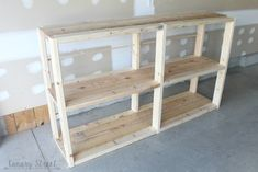Build your own shelf with free plans and step by step instructions using the Kreg pocket hole jig. Wooden Storage Shelves, Rustic Shelves, Build Your Own Shelves, Craft Room Tables, Kitchen Shelves, Kitchen Racks, Free Plans, Easy Diy, Bookcase